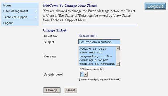 Change the Ticket Status