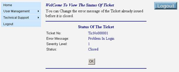 View the Ticket Status